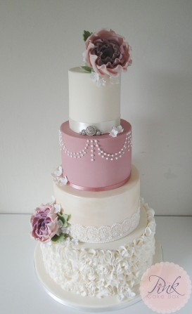 ruffle-dusky-pink-rose-lace-pearl-wedding-cake